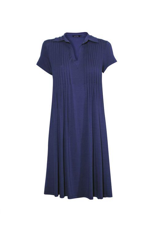 Vestido-polo-com-pregas-Azul-P