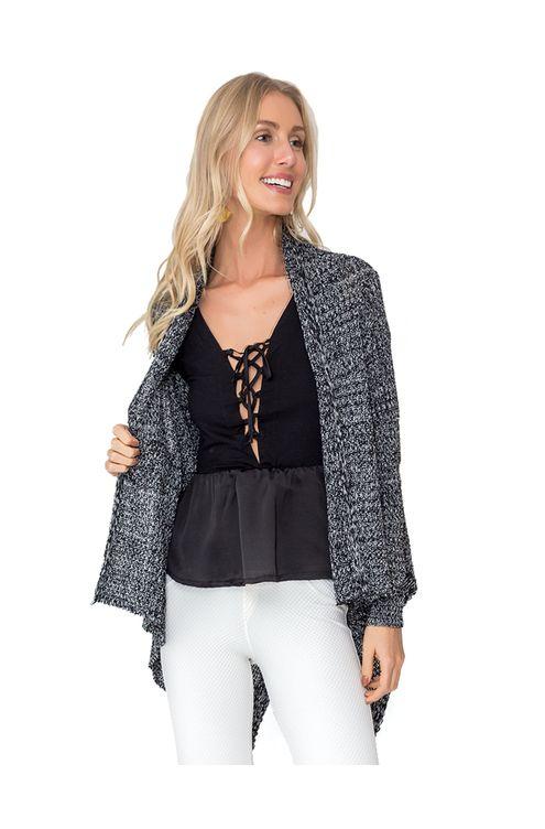 Casaco-tricot-kimono-pontas-Preta-mescla
