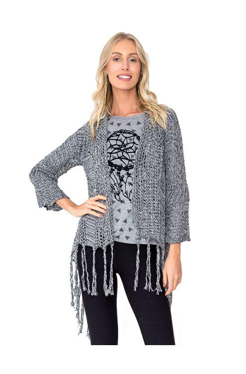 Casaco-tricot-franja-Preta-mescla