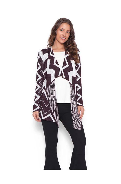 Tricot-kimono-longo--zig-zag-Vinho-branca