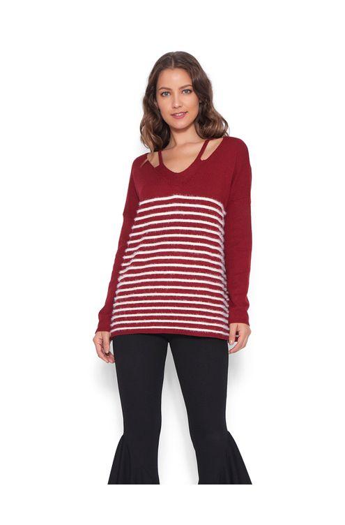 Blusa-tricot-decote-vazado-Vermelha