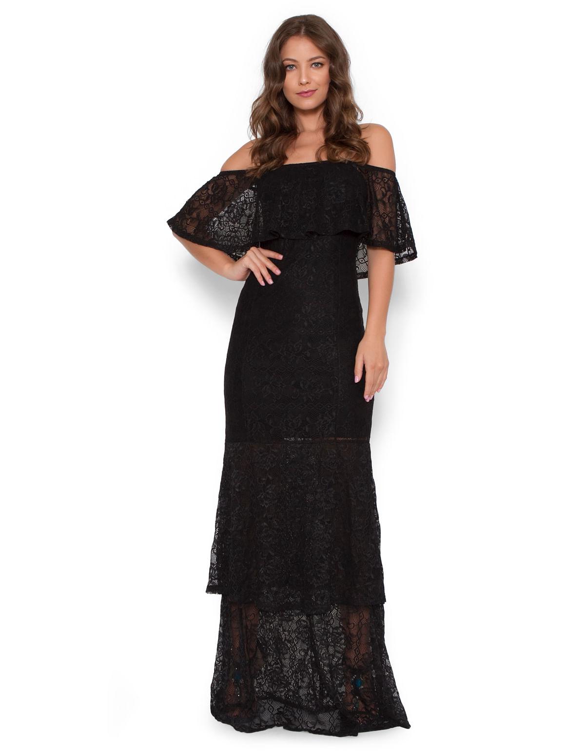 5503a27d5a Vestido longo ciganinha babados preto - LucyintheSky