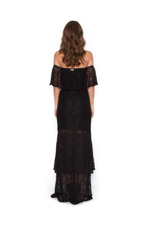 Vestido-longo-ciganinha-babados-Preta-P