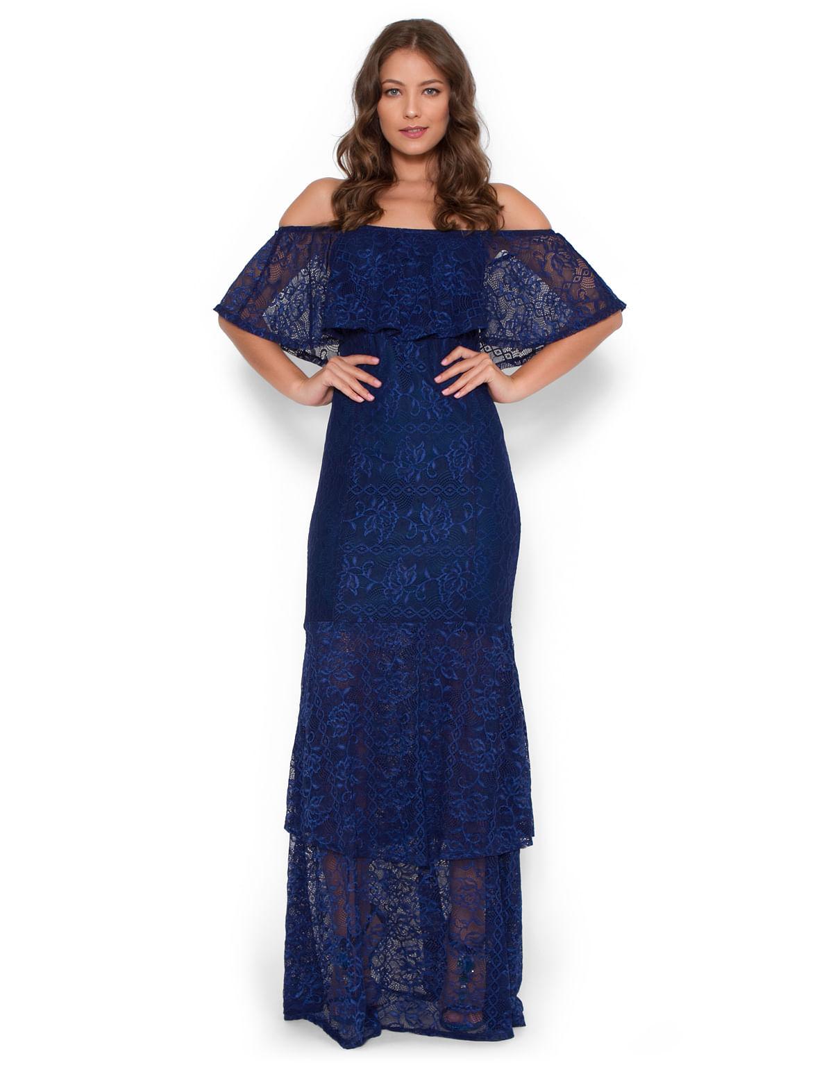 f5b9232c4 Vestido longo ciganinha babados azul marinho - LucyintheSky