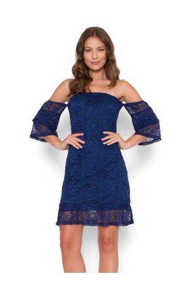 Vestido-renda-manga-babado-Azul-marinho-M