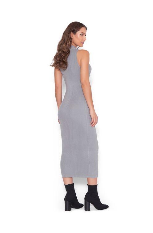 Vestido-midi-tricot-Cinza-M