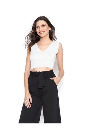 Cropped-decote-v-off-white-