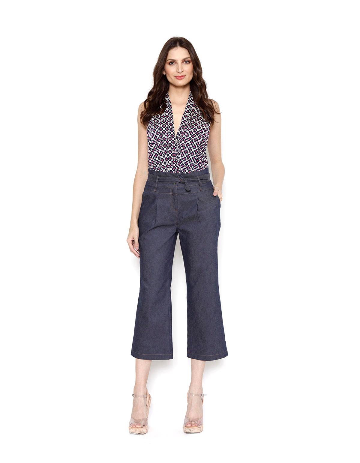 b986856c8 Calca pantacourt clochard jeans azul escuro - LucyintheSky
