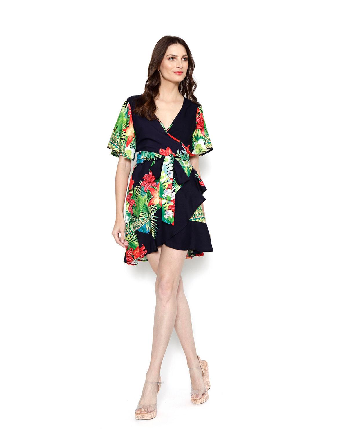 78221100f Vestido curto transpassado marinho floral - LucyintheSky