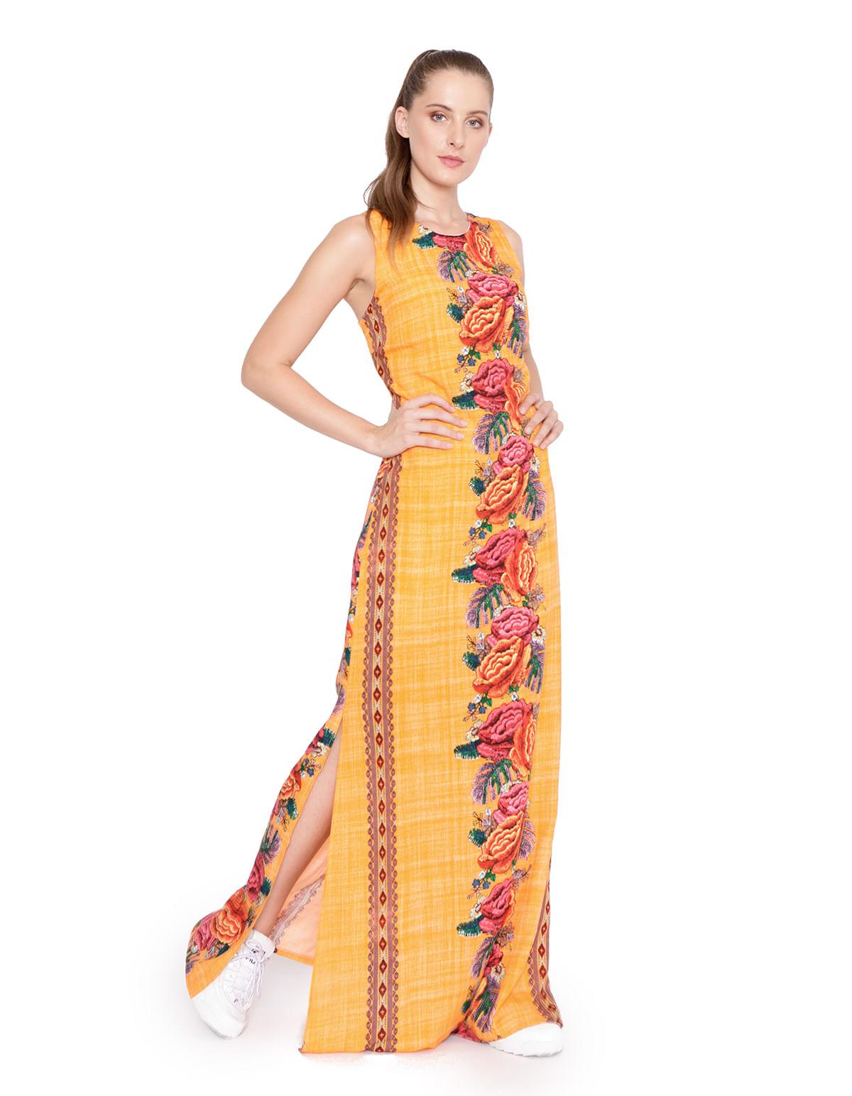 443a7ea34 Vestido longo alca larga laranja/vinho - LucyintheSky