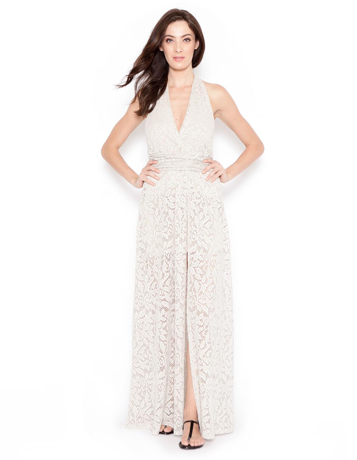 22ff469961 Vestido longo transpassado renda bege - LucyintheSky