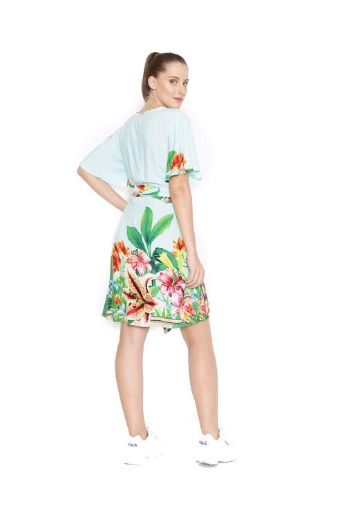 Vestido-curto-transpassado-verde-laranja-
