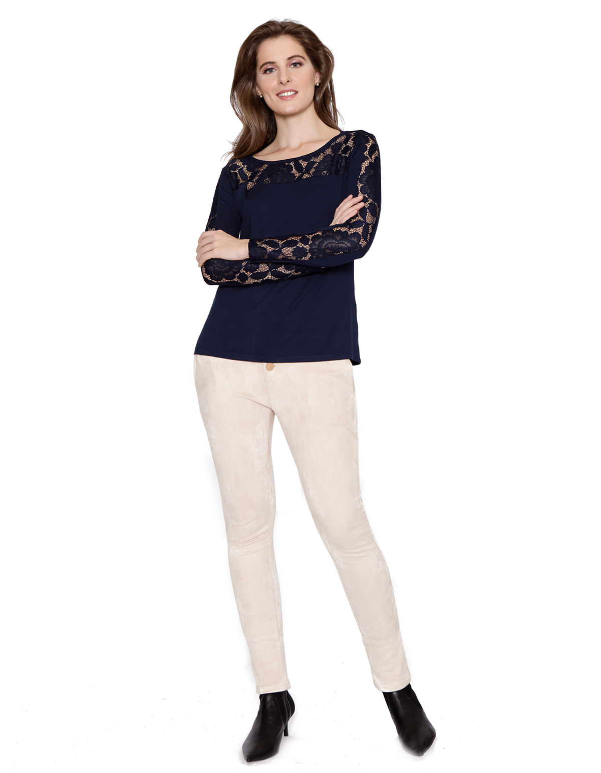 abf37c24fe Blusa manga longa pala e faixa de renda azul marinho - LucyintheSky