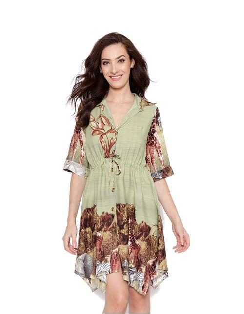 Vestido-curto-chemise-verde-marrom