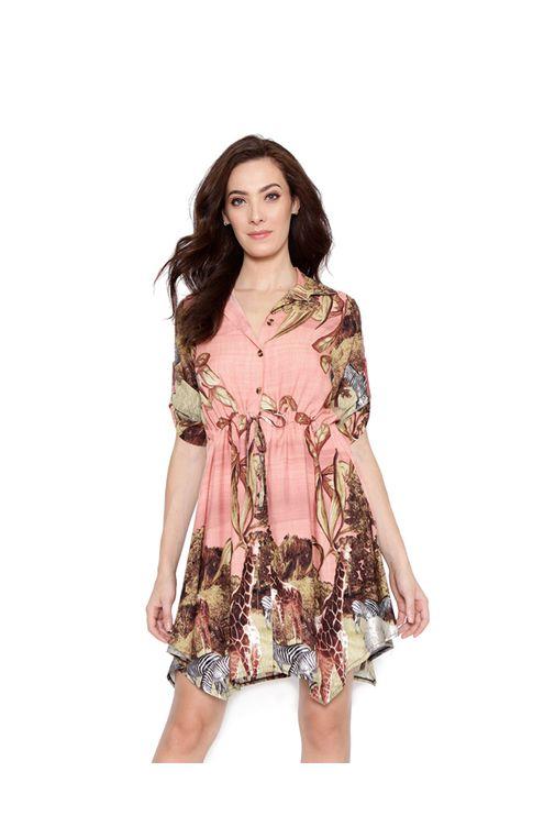 Vestido-curto-chemise-rose-marrom