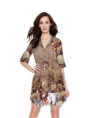 Vestido-curto-chemise-oliva-marrom