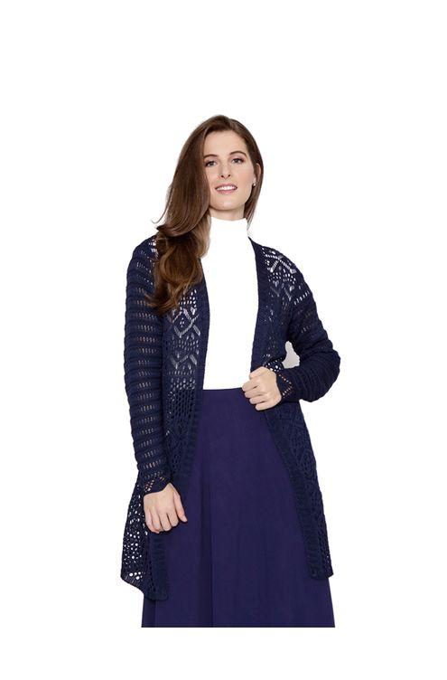 Casaco-midi-tricot-rendado-azul-marinho