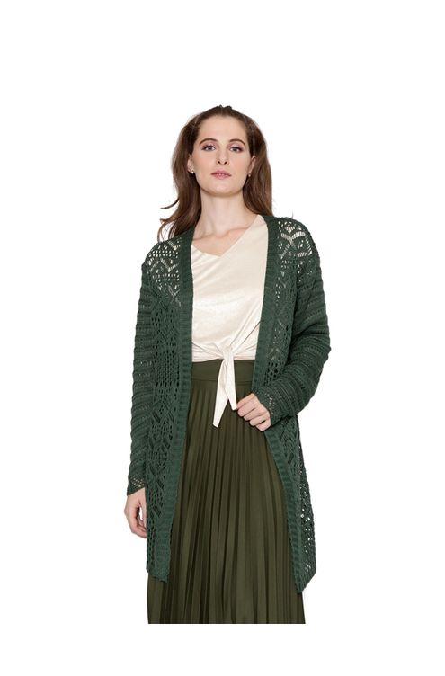 Casaco-midi-tricot-rendado-verde-musgo