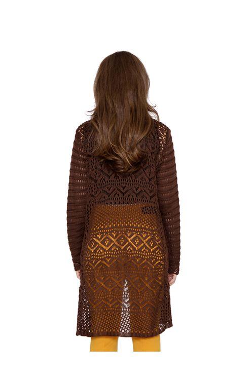 Casaco-midi-tricot-rendado-marrom