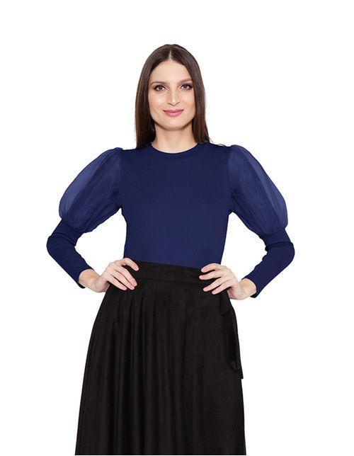 Blusa-manga-longa-bufante-de-organza-azul-marinho